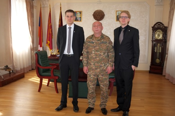 In the office of the Karabakh Football Association President-in uniform