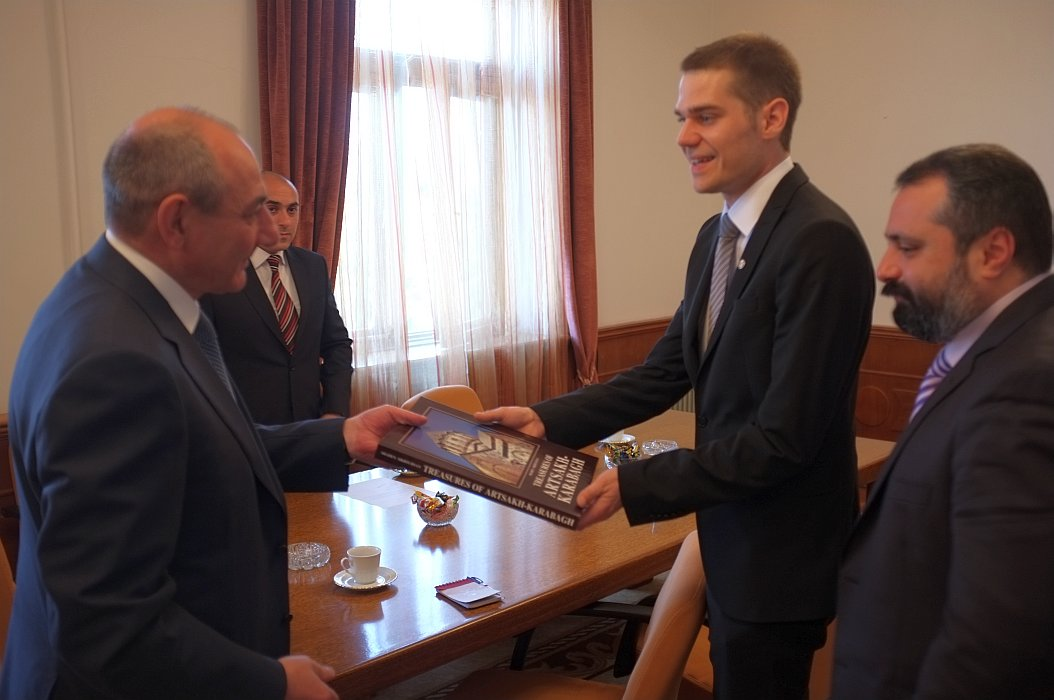 Receiving a gift from the Karabakhi president