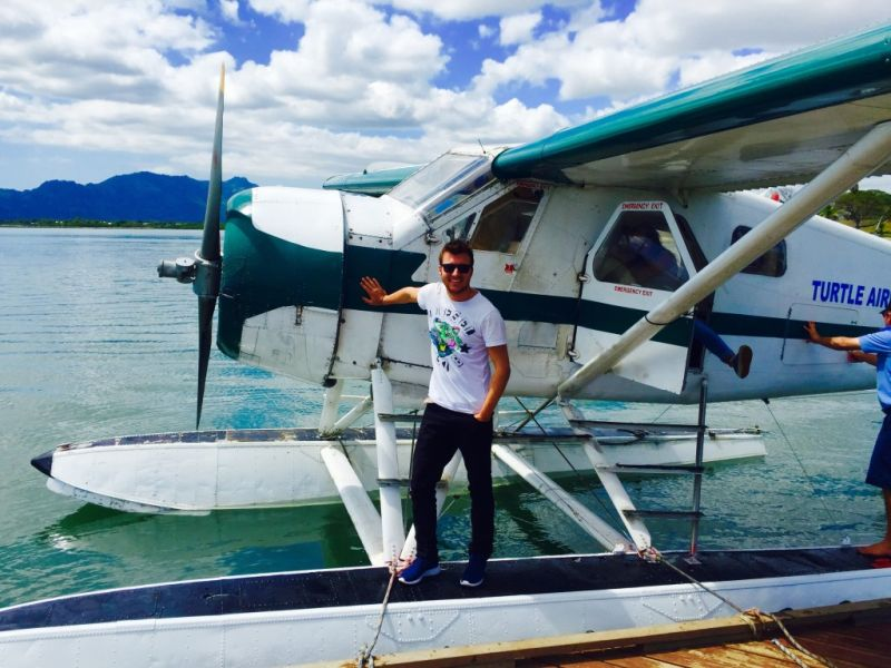 Flying with a seaplane from Viti Levu to Tokoriki Fiji