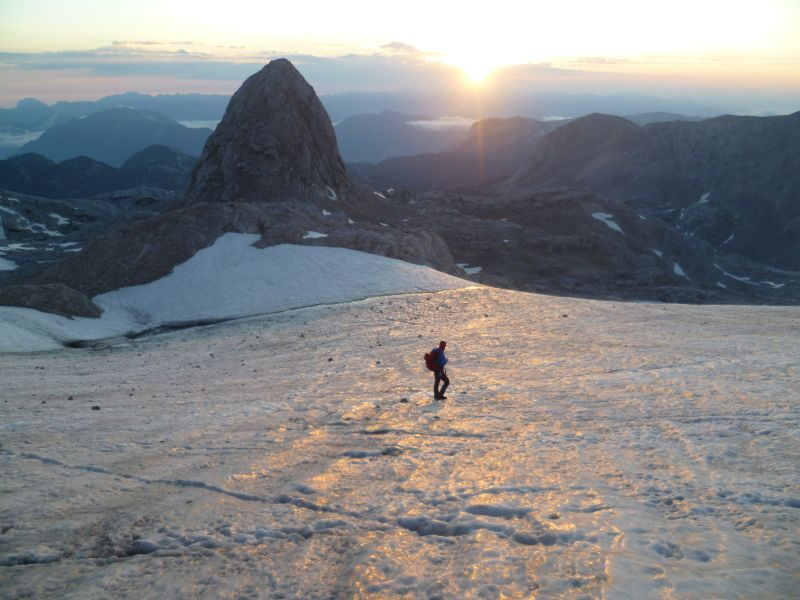 Glacier Hiking in the Austrian Alps during sunrise