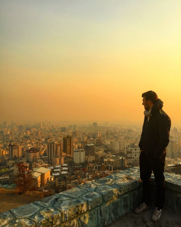 Overlooking Tehran with its incredible pollution during sunset